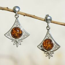 3.45g UNIQUE Natural Authentic Cognac BALTIC AMBER 925 Sterling Silver Earrings