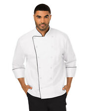 NWT DICKIES UNISEX EXECUTIVE CHEF COAT IN WHITE WITH BLACK PIPING DC42B