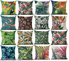 Tropical Bird Leaves Floral Pillow Cushion Cover Case Linen Decor Sofa Throw