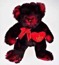 I Love You Red Black Plush Teddy Bear Toy Christmas Valentine Heart Stuffed