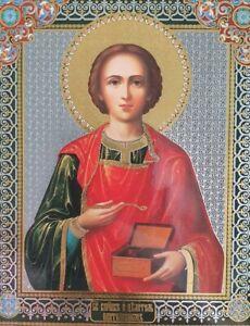 RUSSIAN Orthodox Icon of Saint Panteleimon the Holy Unmercenary Healer