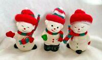 Lot of 3 Vintage ceramic Snowmen Snowman