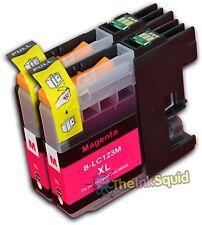 2 Magenta LC123 Ink Cartridges For Brother DCPJ132W DCPJ152W DCPJ552DW non-OEM