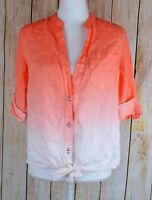 INC Tie Front Button Front Shirt Top Blouse Orange White Ombre Size 6 Tab Sleeve