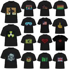 maschi Suono attivato LED Light Up Donna T-shirt manica corta Dance Rave Party