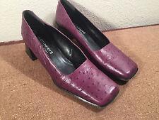 A. Giannetti Purple Faux Ostrich Skin Block Heels Dress Pumps 10B