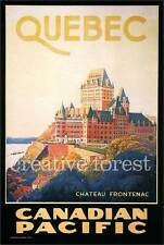 QUEBEC CHATEAU FRONTENAC, 1924 Vintage Travel Poster Canvas Giclee 24x32 in.