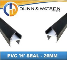 Black 26mm PVC 'H' Weather Seal - 3000mm Length (Trucks, Trailers, Canopies)
