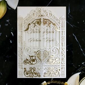 Foiled Wedding Invitation - Ivory Victorian Gates / IWP16031-F / Sample Only