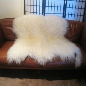GENUINE DOUBLE Side by Side SHEEPSKIN RUG Ivory