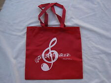 "MUSIC Tote Bag RED Nylon 14""X13"" Great Music Gift Teachers/Students Brand NEW"