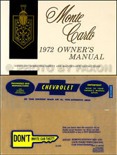 1972 Chevy Monte Carlo Owners Manual with Envelope 72 Chevrolet Owner Guide Book