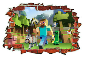 Mine craft Wall Decals Removable Vinyl Stickers Gamers 620x900mm