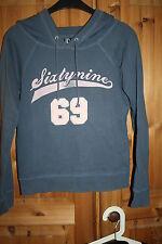 ONLY Sweatshirt Hoodie Gr.M blau rosa Aufschrift Kapuze SIXTYNINE 69 Vintage