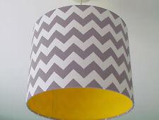 Grey White Zig Zag Chevron Gloss Yellow Lining Lampshade Ceiling Shade