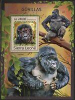 SIERRA  LEONE 2016  GORILLAS  SOUVENIR SHEET  MINT NH