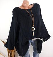 Damen Tunika Oversize Lagenlook Bluse Shirt Kette Leinen Look oliv 40 42 46