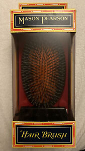 NEW Mason Pearson Boar Bristle & Nylon Medium Junior Military Brush Dark Ruby