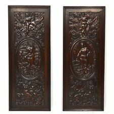 Exquisite Fine Pair Antique French Carved Walnut Wall Panels Mythological Scenes