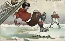 Soccer Football Comic - Goalie Unexpected Attack Artist Signed Comic Postcard