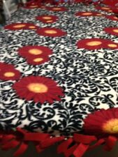"FLEECE KNOTTED BLANKET - Rust Colored Flowers - Fleece - Approx. 72"" x 60"""
