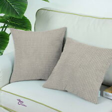 Pack of 2 Pillow Covers Comfortable Soft Corduroy Corn Striped  55x55 Taupe