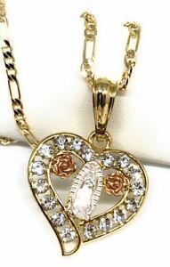 """Virgen De Guadalupe Medalla Pendant Necklace 24"""" Corazon Cadena Oro Laminado"""
