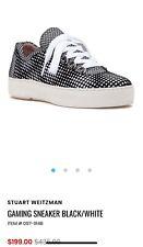 Stuart Weitzman Gaming Sneaker Black/White Nappa Leather Size 10.5 Women NWOB