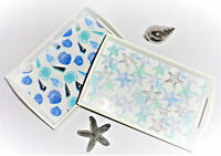 Tablett maritim Holz Muscheln Seesterne Dekoration blau weiß silber Deko 22 cm