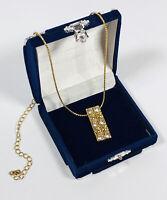 Vintage Avon Necklace Gold Tone Collar Length & Sparkly Diamante Pendant Pretty