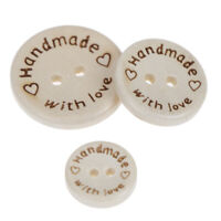 50pcs Handmade With Love Wooden Round Buttons With 2 Holes 3 Sizes -15/20/25m MD