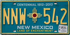 GENUINE New Mexico Centennial USA Licence License Number Plate Tag NNW 542