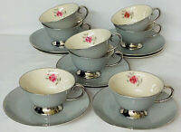 "8 Flintridge China *MIRAMAR PINK ROSE*IVORY & GREY*3 3/4"" FOOTED CUPS & SAUCERS"