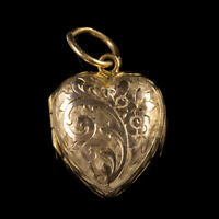 ANTIQUE VICTORIAN HEART FORGET ME NOT LOCKET 9CT GOLD CIRCA 1900