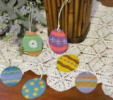 Easter Egg Ornaments Set of 8 Metal Tin 2.25 inch Hand Painted