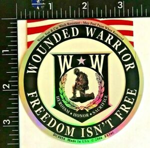 """WOUNDED WARRIOR """"FREEDOM ISN'T FREE"""" DECAL (DC-3) HEROISM * HONOR * SACRIFICE"""