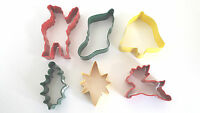 Christmas Cookie Cutters. Holly, Stocking, Star, Bell, Reindeer, Father Xmas