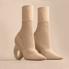BNWB Burberry Kimberley Mid-Calf Knitted Boots with Sculpted Heel (Size 39)