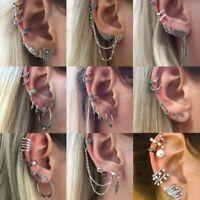 Boho Retro Geometric Round Crystal Ear Earrings Dangle Drop Studs Hoop Women