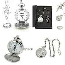 Powshop Fullmetal Alchemist Anime Pocket Watch with Necklace & Ring Anime...