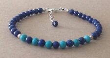 Lapis Lazuli+TURQUOISE Gemstone, Sterling Silver, Beaded Friendship Bracelet