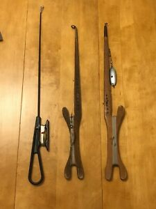 Vintage wooden ice finshing jig/fishing rod lot
