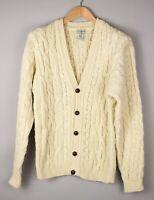 L.L.Bean Herren Wolle Front Knopf Strickjacke Sweatshirt Größe M AVZ427