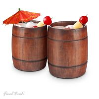 2x Final Touch Barrel Tumblers Wooden Cocktail Glasses Ideal for Cocktails Beers