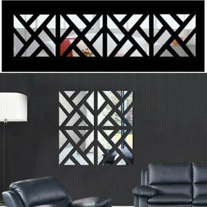 Unique Mirror Tiles Wall Sticker Self Adhesive Stick On Art Home Decor 4 Slices