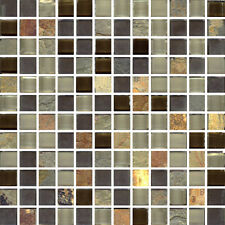 Rio Square - 12X12X3/8 Mesh Mounted Glass & Stone Mosaic Tile (pic w/grout)
