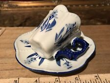 Porcelain Demi Cup & Saucer, Blue & White Floral w/ Scalloped Edges