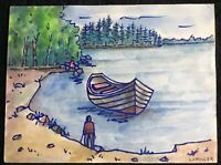 L J Miller (Louis)_Signed_Modernist Watercolor_Lake/Boat/Hiking_ExC_SHIPS FREE