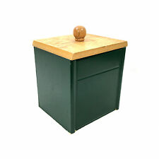 Green Wooden Coffee Canister with Light Wood Lid, Plastic Liner & Air tight Seal