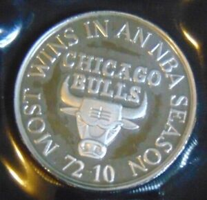 CHICAGO BULLS ENVIROMINT 1996 MOST WINS SEASON ROUND .999 FINE SILVER COIN